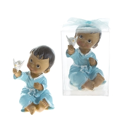 Mega Favors - Ethnic Toddler in Robe Holding Dove in Clear Box - Blue