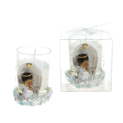 Mega Favors - Ethnic Baby Angel Praying on Clouds Poly Resin Candle Set in Clear Box - Blue