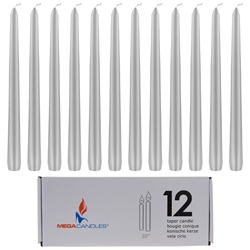 "Mega Candles - 12 pcs 10"" Unscented Taper Candle in White Box - Silver"