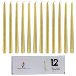 "Mega Candles - 12 pcs 12"" Unscented Taper Candle in White Box - Gold"