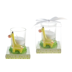 Mega Favors - Baby Giraffe Poly Resin Candle Set in Gift Box - White