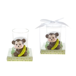 Mega Favors - Baby Monkey Poly Resin Candle Set in Gift Box - White