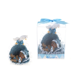 Mega Favors - Ethnic Baby in a Basket with Swan Poly Resin in Gift Box - Blue