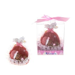 Mega Favors - Ethnic Baby in a Basket with Swan Poly Resin in Gift Box - Pink
