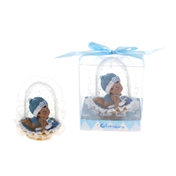 Mega Favors - Ethnic Baby Crawling in Basket Poly Resin in Gift Box - Blue