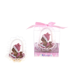 Mega Favors - Ethnic Baby Crawling in Basket Poly Resin in Gift Box - Pink