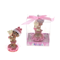 Mega Favors - Ethnic Baby Holding Teddy Bear Poly Resin in Gift Box - Pink