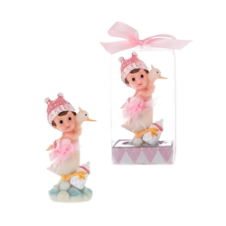 Mega Favors - Baby Sitting on Stork Poly Resin in Gift Box - Pink
