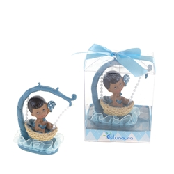 Mega Favors - Ethnic Baby Sitting in Hanging Basket Poly Resin in Gift Box - Blue