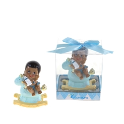 Mega Favors - Ethnic Baby Sitting on Rocking Horse Poly Resin in Gift Box - Blue
