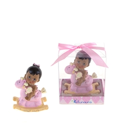 Mega Favors - Ethnic Baby Sitting on Rocking Horse Poly Resin in Gift Box - Pink