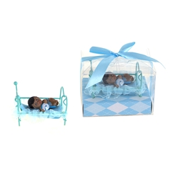 Mega Favors - Ethnic Baby Laying in Frame Bed Poly Resin in Gift Box - Blue