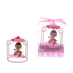 Mega Favors - Ethnic Baby Sitting on Swing Poly Resin in Gift Box - Pink