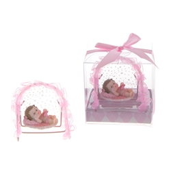 Mega Favors - Baby Laying in Frame Rocker Poly Resin in Gift Box - Pink