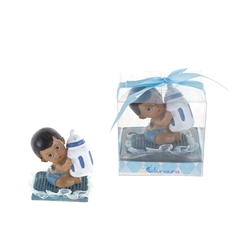 Mega Favors - Ethnic Baby Sitting on Pillow Holding Bottle Poly Resin in Gift Box - Blue