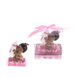 Mega Favors - Ethnic Baby Sitting on Pillow Holding Bottle Poly Resin in Gift Box - Pink