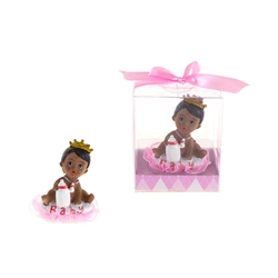Mega Favors - Ethnic Baby Wearing Crown Holding Bottle Poly Resin in Gift Box - Pink
