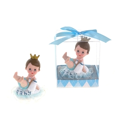 Mega Favors - Baby Wearing Crown Holding Bottle Poly Resin in Gift Box - Blue