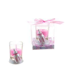 Mega Favors - Baby Bottle Poly Resin Candle Set in Gift Box - Pink