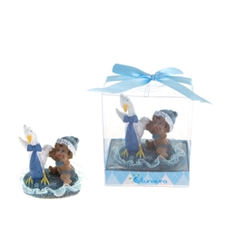Mega Favors - Ethnic Baby Playing with Stork Poly Resin in Gift Box - Blue