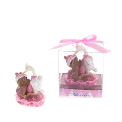Mega Favors - Ethnic Baby Playing with Stork Poly Resin in Gift Box - Pink
