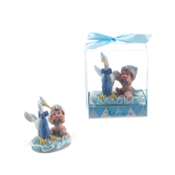 Mega Favors - Baby Playing with Stork Poly Resin in Gift Box - Blue