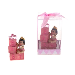Mega Favors - Ethnic Baby Sitting on Blocks with Crown Poly Resin in Gift Box - Pink