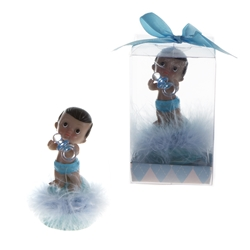 Mega Favors - Ethnic Baby Holding Pacifier Poly Resin in Gift Box - Blue