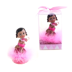 Mega Favors - Ethnic Baby Holding Pacifier Poly Resin in Gift Box - Pink