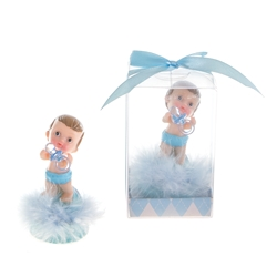 Mega Favors - Baby Holding Pacifier Poly Resin in Gift Box - Blue