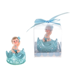 Mega Favors - Baby Sitting on Top of Crown Poly Resin in Gift Box - Blue