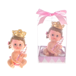 Mega Favors - Baby Wearing Crown Holding Bottle Poly Resin in Gift Box - Pink