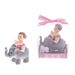 Mega Favors - Baby Sitting on Elephant Holding Pacifier Poly Resin in Gift Box - Pink