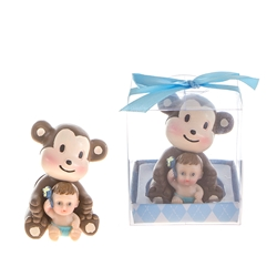Mega Favors - Baby Sitting in Front of Monkey Poly Resin in Gift Box - Blue