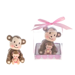 Mega Favors - Baby Sitting in Front of Monkey Poly Resin in Gift Box - Pink