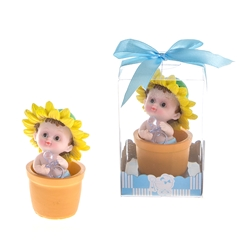 Mega Favors - Baby Sitting in Flower Pot with Pacifier Poly Resin in Gift Box - Blue