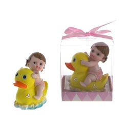 Mega Favors - Baby Sitting on Rubber Ducky Poly Resin in Gift Box - Pink