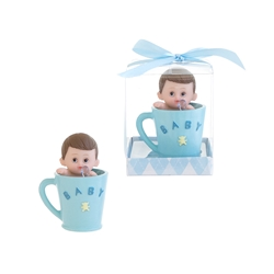 Mega Favors - Baby inside a Cup with Pacifier Poly Resin in Gift Box - Blue