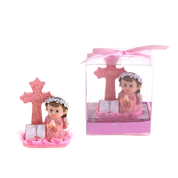 Mega Favors - Baby Angel Praying Next to Cross Poly Resin in Gift Box - Pink