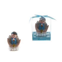 Mega Favors - Baby Angel Praying on Palm Poly Resin in Gift Box - Blue