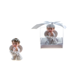 Mega Favors - Baby Angel Praying in White Next to Infant Poly Resin in Gift Box - Pink