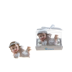 Mega Favors - Baby Angel Laying in White on Floor Poly Resin in Gift Box - Pink