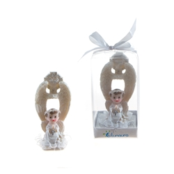 Mega Favors - Baby Angel Praying in White Under Wings in Gift Box - Blue