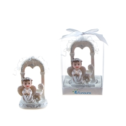 Mega Favors - Baby Angel Praying in White Under Arch in Gift Box - Blue