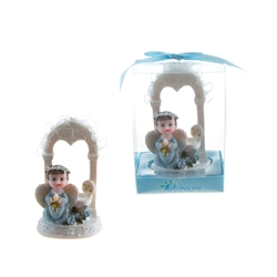 Mega Favors - Baby Angel Praying Under Arch in Gift Box - Blue