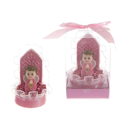 Mega Favors - Baby Praying in Rose Garden Poly Resin in Gift Box - Pink