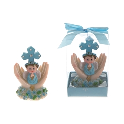 Mega Favors - Baby Praying on Palm with Roses Poly Resin in Gift Box - Blue