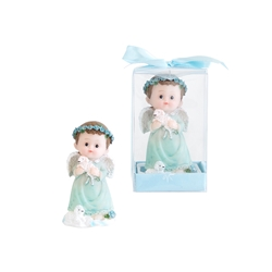 Mega Favors - Baby Angel Holding Baby Lamb Poly Resin in Gift Box - Blue