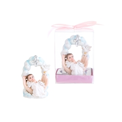 Mega Favors - Baby Praying on Palm Under Cross Poly Resin in Gift Box - Pink