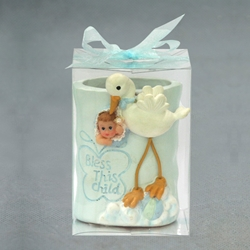 Mega Favors - Stork Carrying Baby Poly Resin Cup Holder in Clear Box - Blue